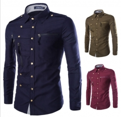 European fashion men slim long sleeve multi button business casual Rome shirts army green l