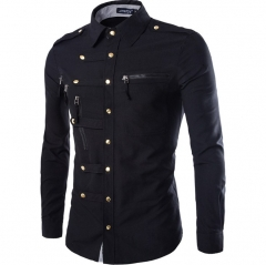 European fashion men slim long sleeve multi button business casual Rome shirts black m