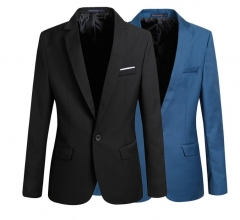Luxury Korean type slim men long sleeve one button thin style blazers coats light blue 5xl