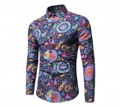 Men fashion new style long sleeve printed floral Korean type large size Rome leisure shirts navy blue xl