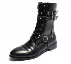 Korean type England men male pointed head rivet buckle high-cut leather Martin boots shoes black euro 39