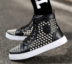 Fashion youth men high-cut rivets flat sole lace-up casual sports board sneakers shoes black 39
