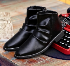 Men new style fashion high-cut slip-on pointed toe leather short ankle boots shoes black euro 39